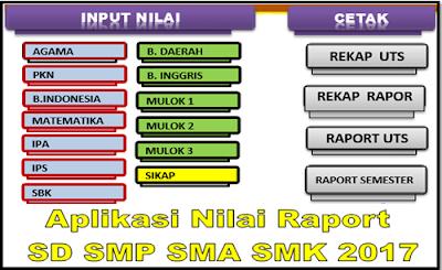 Aplikasi Nilai Raport SD SMP SMA SMK 2017