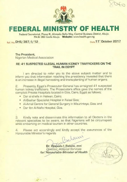 Foreign Hospitals Are Stealing Kidneys - FG Warns Nigerians Traveling Out for Medical Treatment