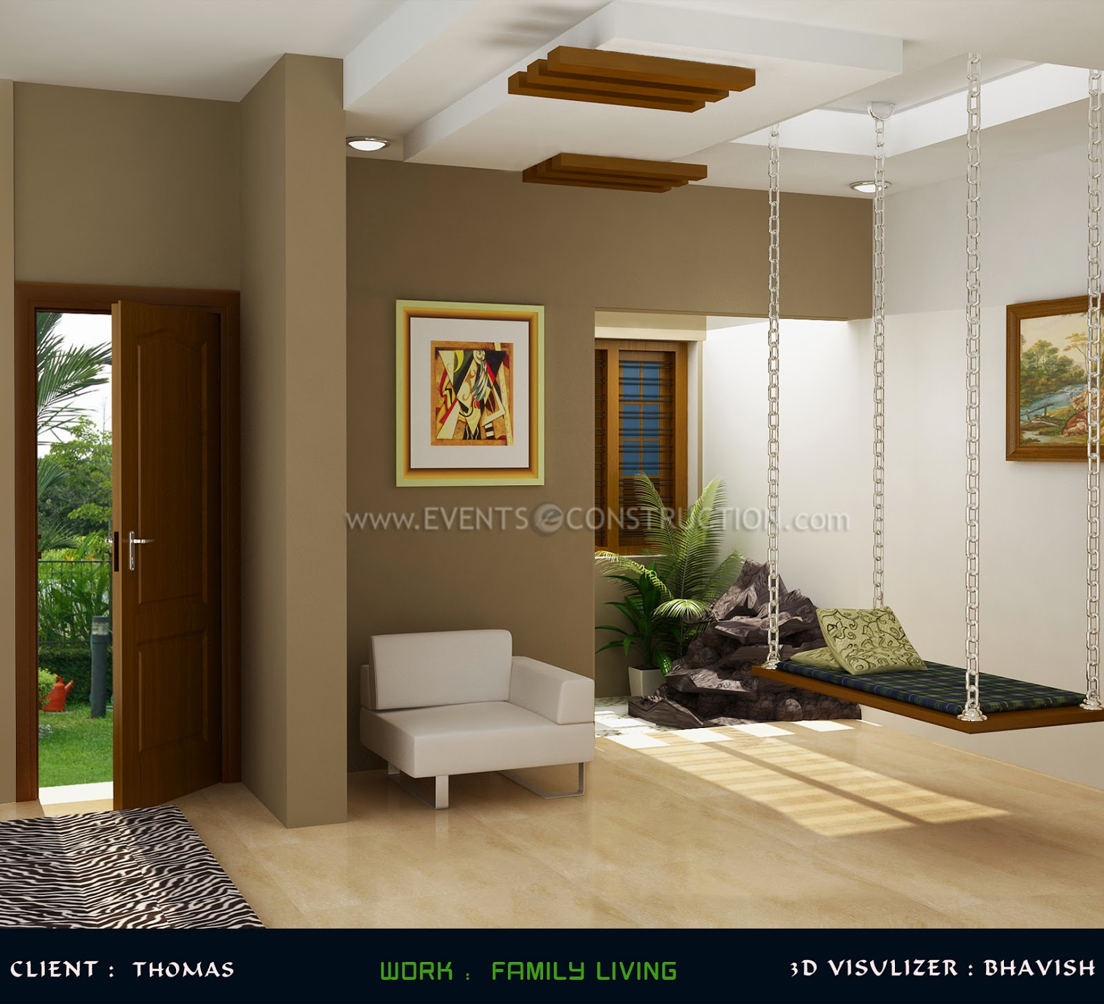 Evens Construction Pvt Ltd Kerala Style Family Living Room