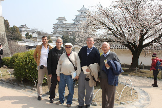 Castillo de Himeji como fondo