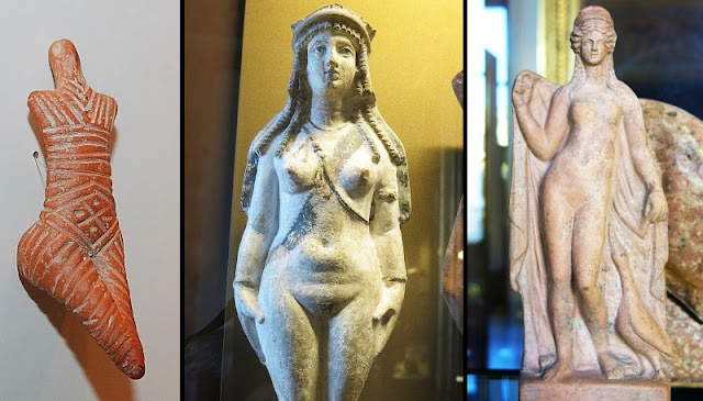 Neolithic Venus figurine (left), Isis-Aphrodite (middle), Greek Aphrodite (right).