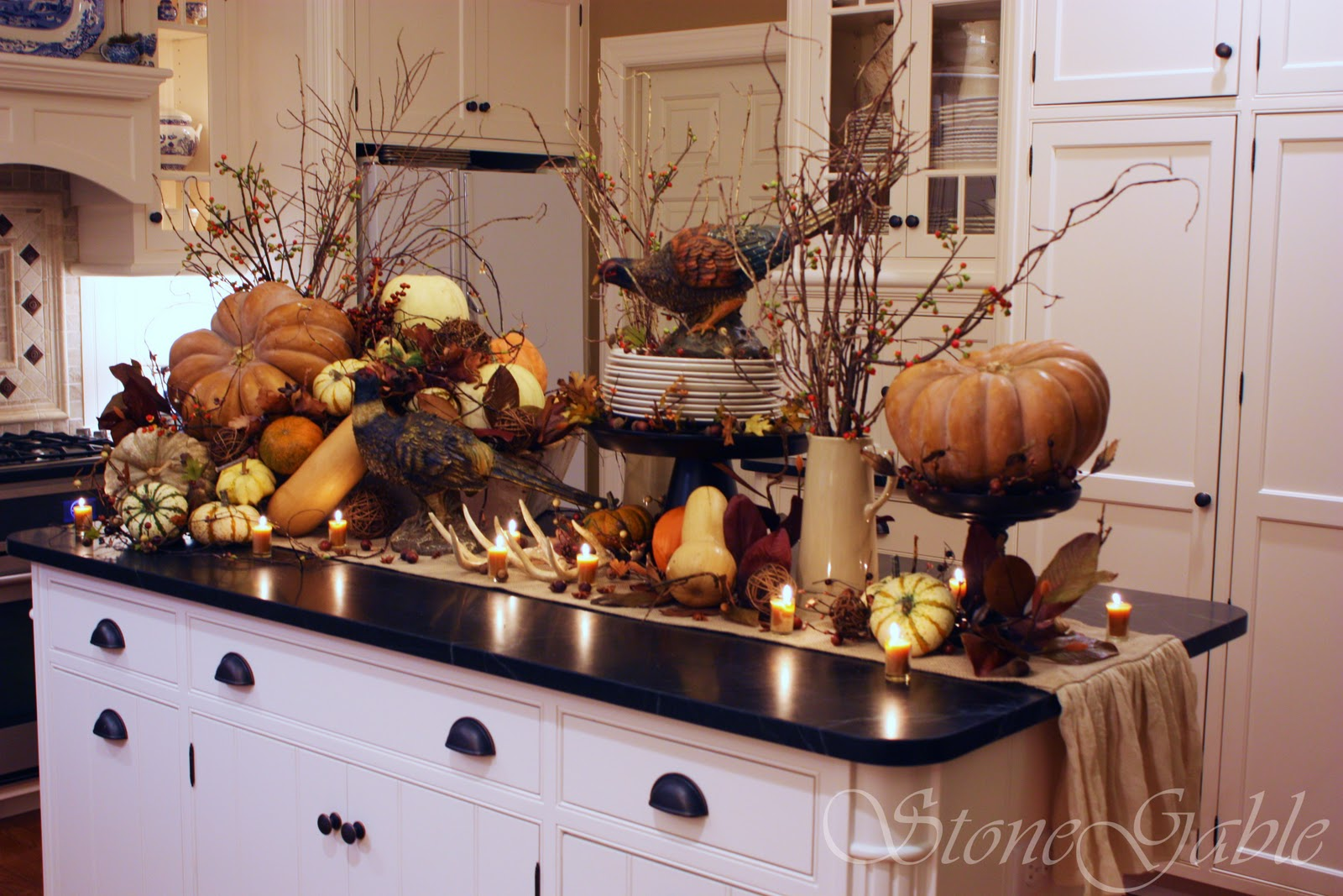 Fall Kitchen Curtains Delta Touchless Faucet Thanksgiving Woodland Buffet Stonegable