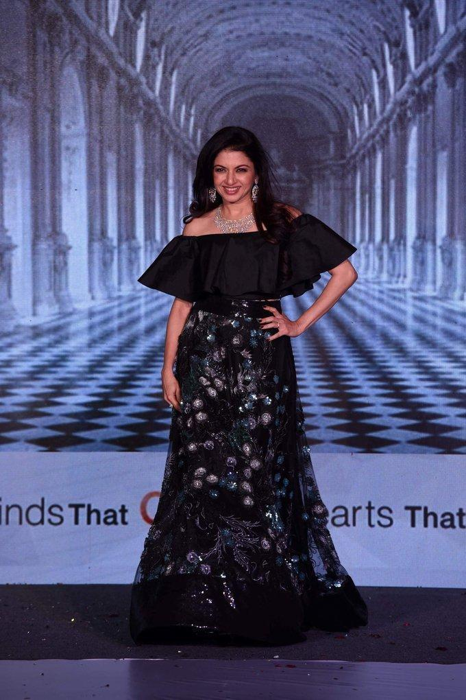 Bollywood Actress Bhagyashree Stills In Black Dress