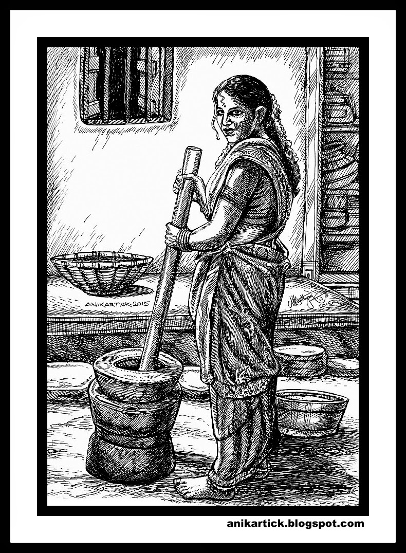 Village lady drawing village woman drawing traditional tamil drawing tamil pengal oviyam pen drawings done by artist anikartickchennaitamil