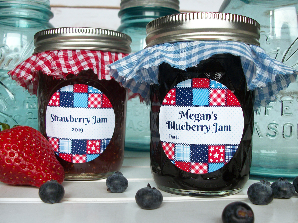 Custom country quilt canning jar labels