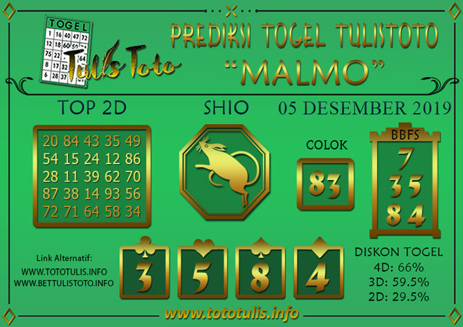 Prediksi Togel MALMO TULISTOTO 05 DESEMBER 2019