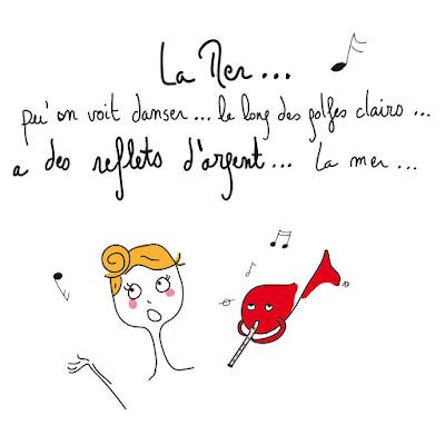 agathe, albane devouge, apprendre à chanter, chanson de charles trenet, dessin, humour, illustration, illustratrice, jouer de la flûte, la mer a des reflets d'argent, poisson rouge,