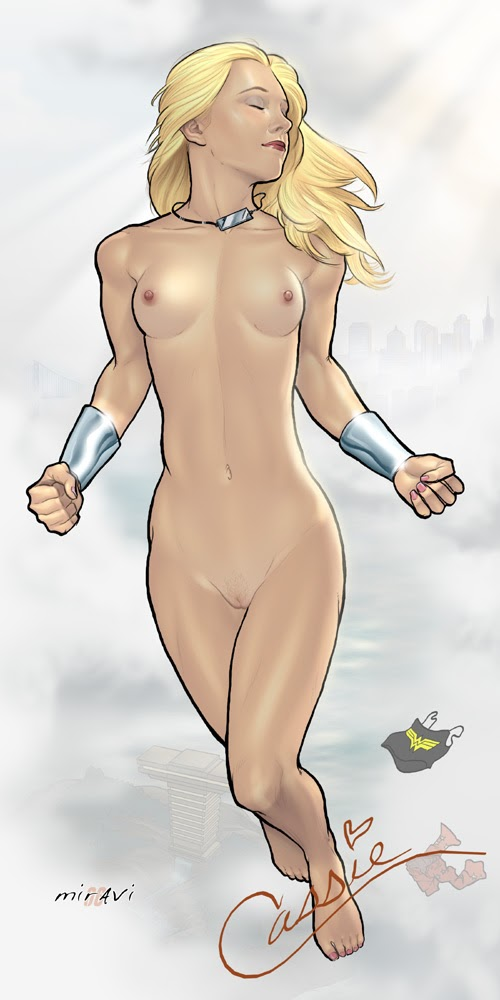 Nude girl dressed as comic