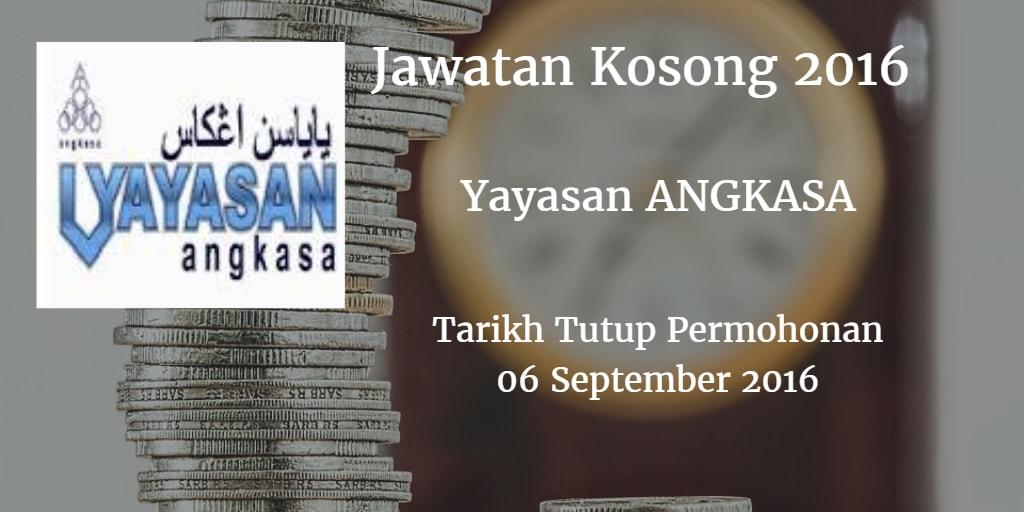 Jawatan Kosong Yayasan ANGKASA 06 September 2016