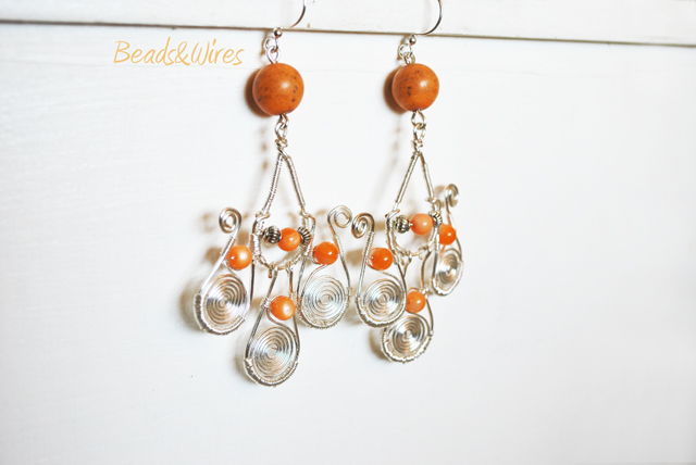 long orange earrings