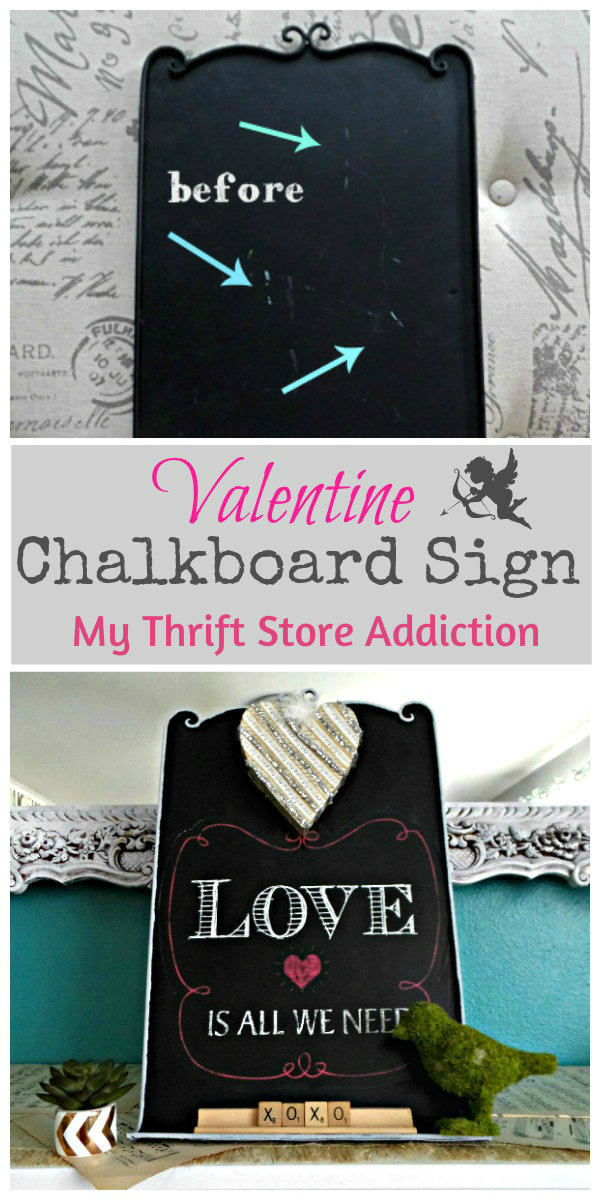 Valentine Chalkboard Upcycle mythriftstoreaddiction.blogspot.com  Damaged clearance chalkboard upcycle and tutorial