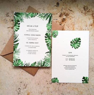 Zaproszenia ślubne z motywem tropikalnym od Paper Words.