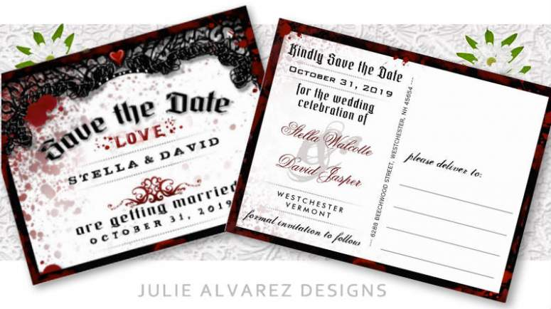 blood splatter matching save the date Halloween wedding post card