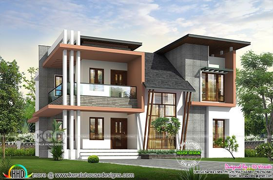 3d rendering of 4 bedroom contemporary house