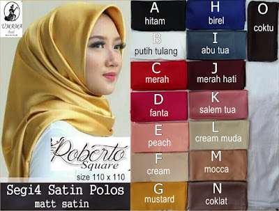 Grosir Jilbab Kerudung Hijab Segiempat Satin Polos Roberto Umama