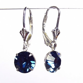 Fine montana blue Swarovski Crystal on Sterling Silver Lever back earrings +Gift Box,£10.99