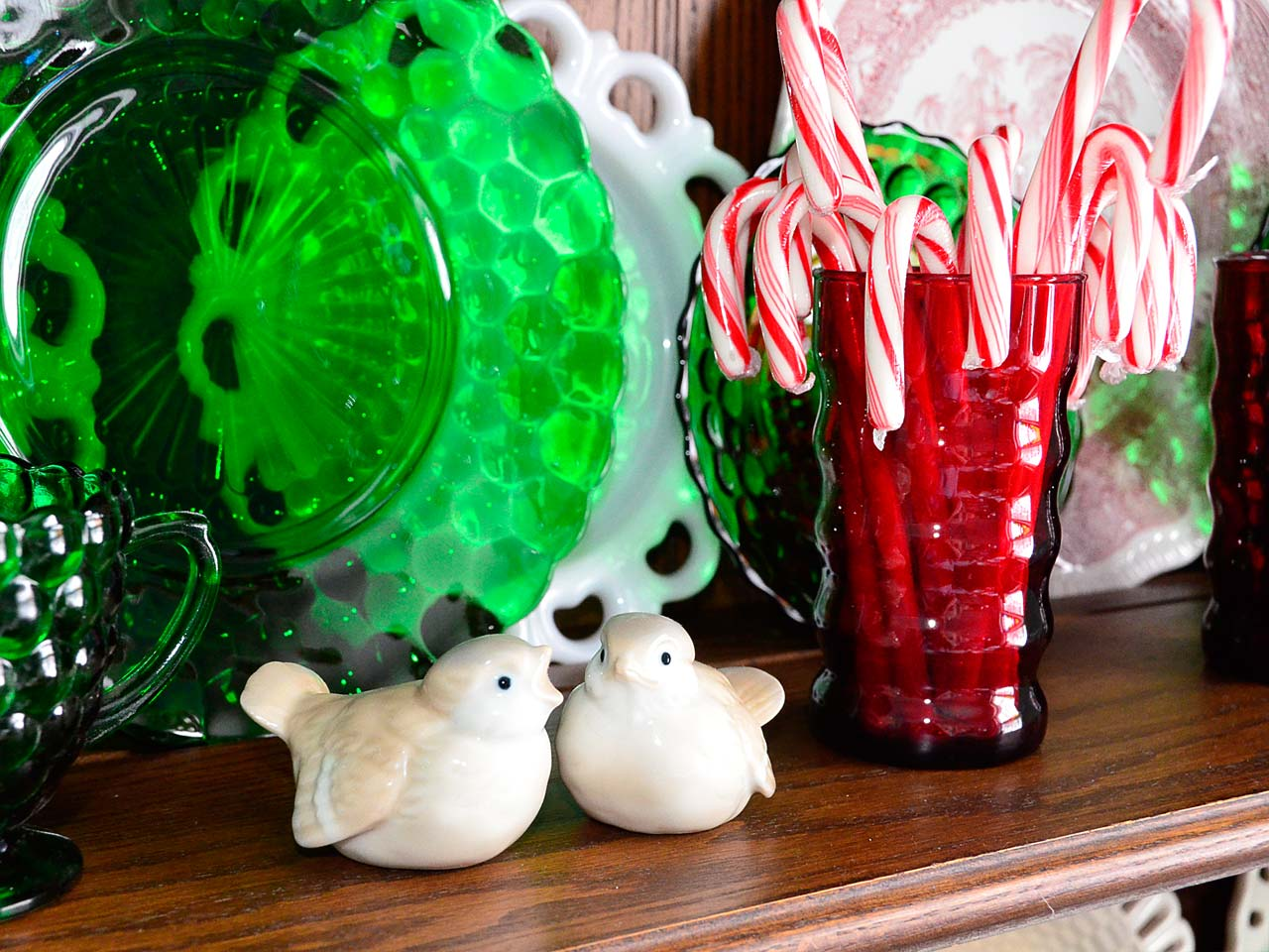 Christmas vintage glass porcelain birds