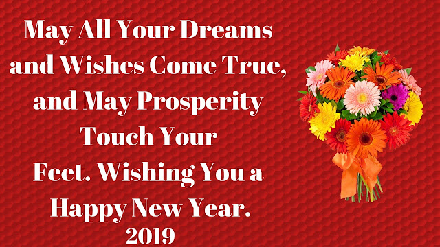 May All Your Dreams and Wishes Come True, and May Prosperity Touch Your Feet. Wishing You a Happy New Year.