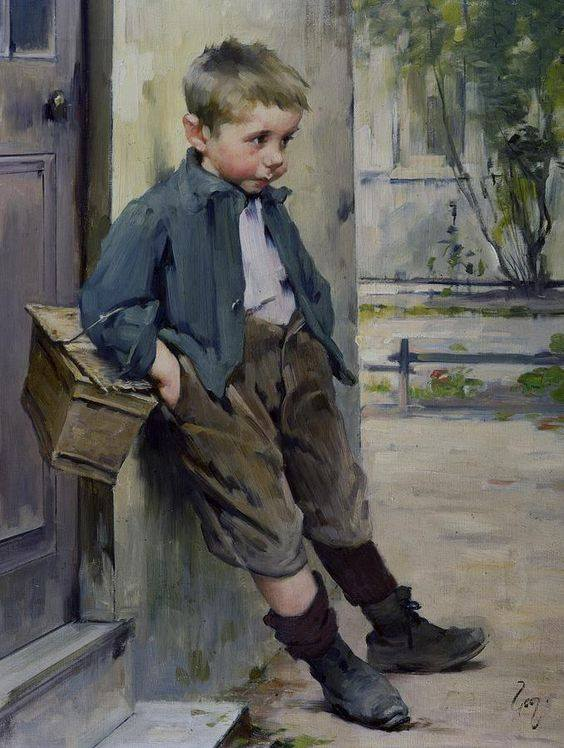 """Out of the game"", painting by Henry Jules Jean Geoffroy"