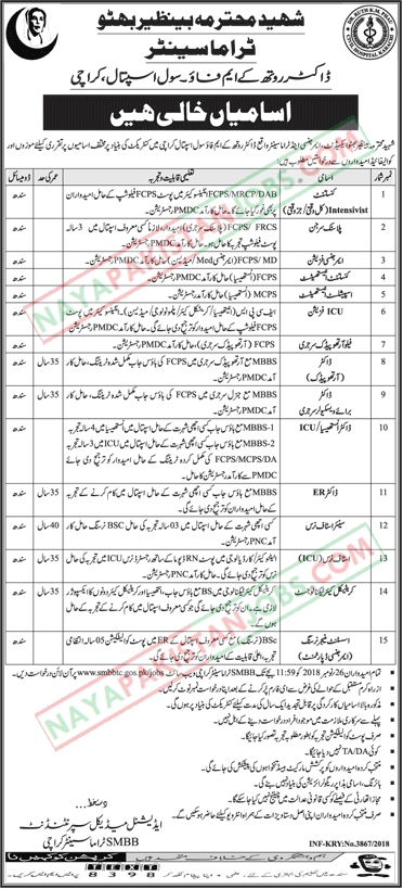 .Latest Vacancies Announced in Shaheed Benazir Bhutto Trauma Centre Civil Hospital 4 November 2018 - Naya Pakistan