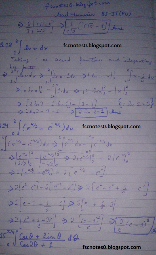 FSc ICS Notes Math Part 2 Chapter 3 Integration Exercise 3.6 question 10 - 17 by Asad Hussain 1