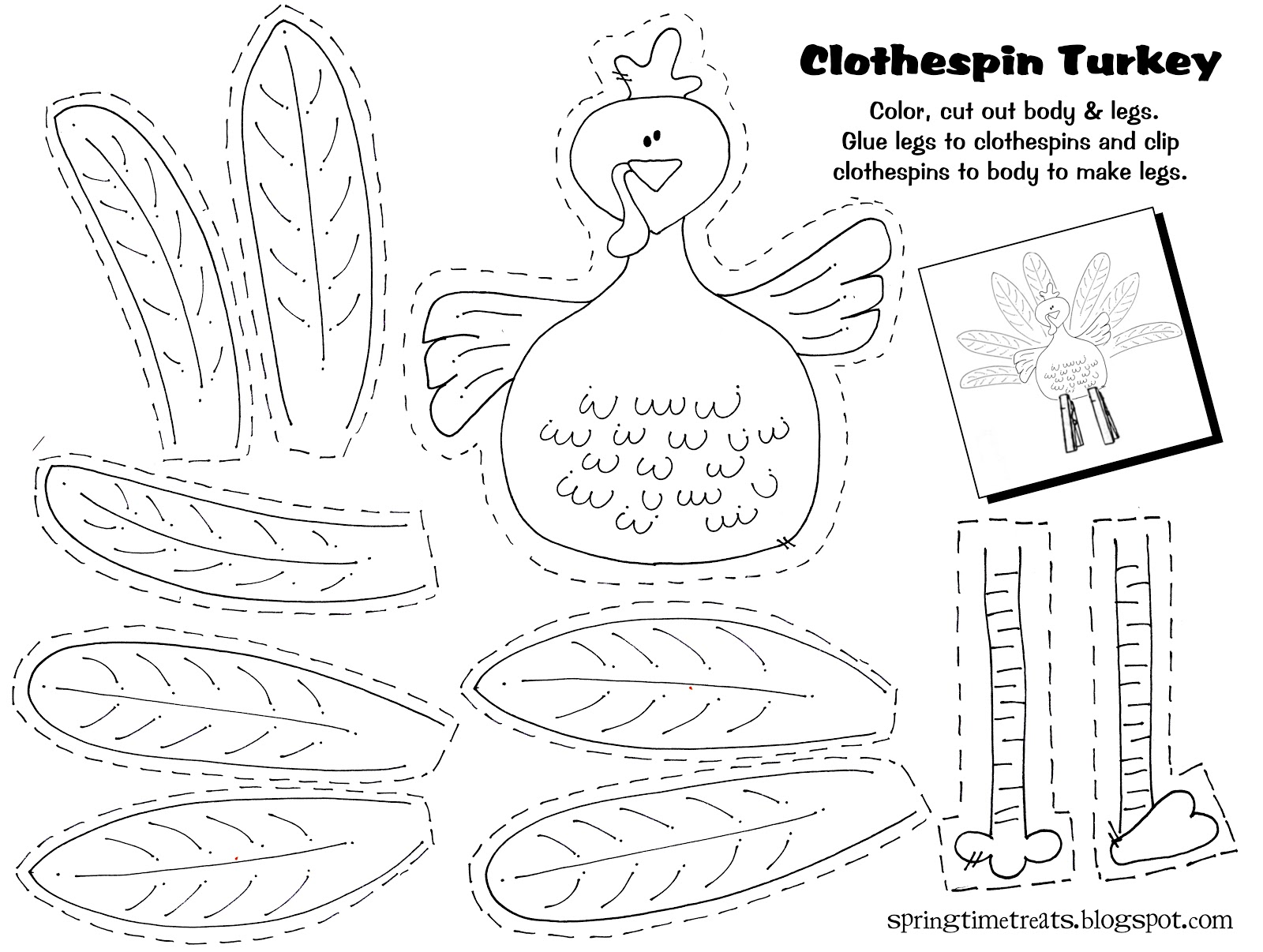 Spring Time Treats Clothespin Turkey