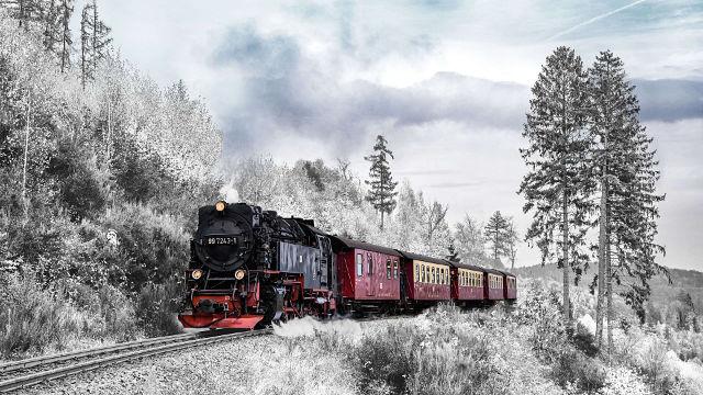 Train Vintage Paysage Hivernal - Fond d'écran en Ultra HD 4K