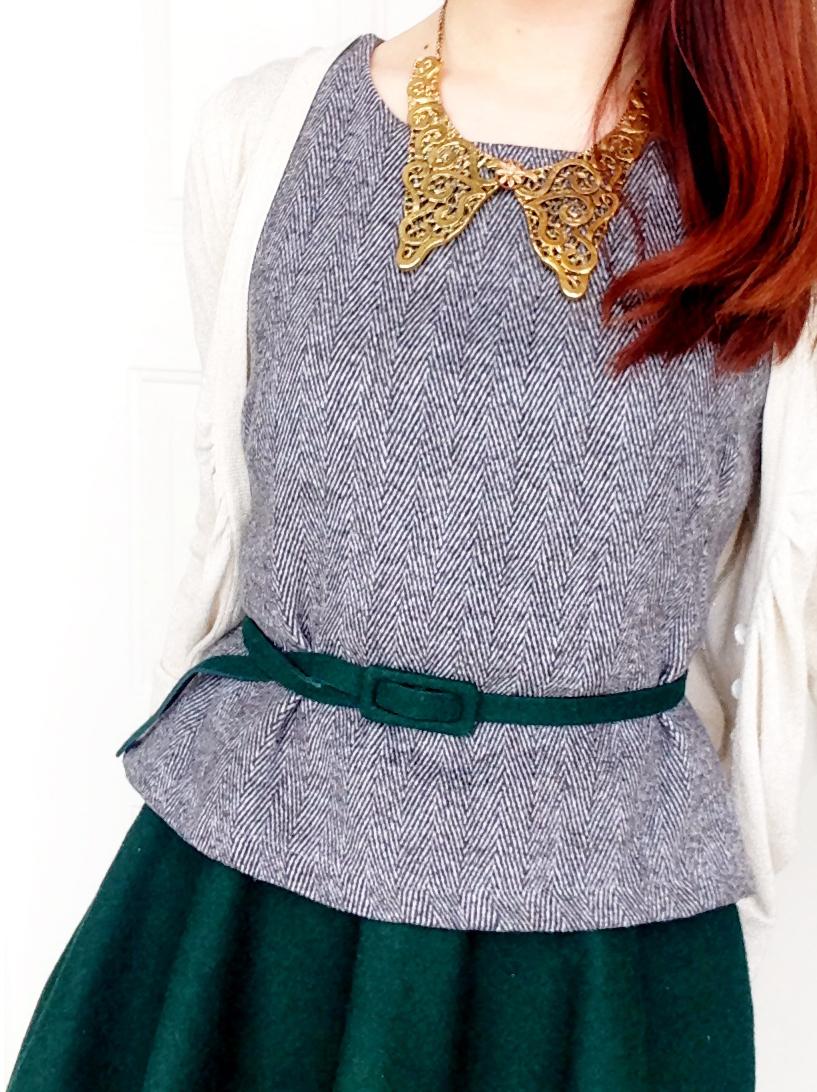 Tweed peplum top with assymetrical skirt