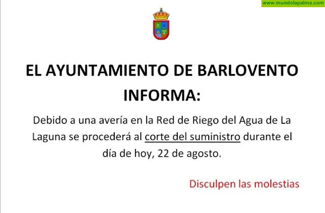 Una avería en la red de riego provoca el corte del suministro en Barlovento