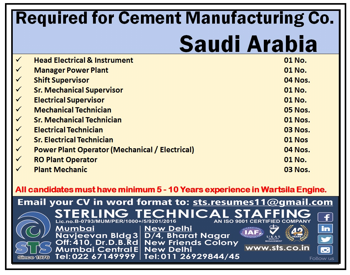 Required for Cement Manufacturing Company Saudi Arabia