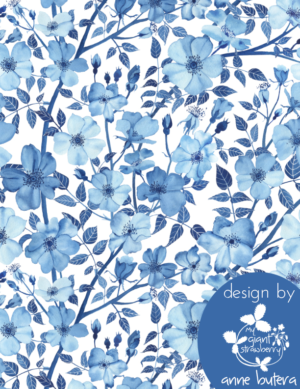 fabric design, blue roses, rose fabric, prussian blue, Spoonflower, Anne Butera, My Giant Strawberry