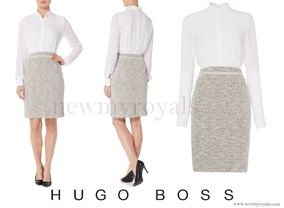 Crown Princess Mary wore HUGO BOSS Halennia Boucle Dress