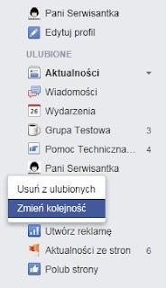 Zmiana kolejności w menu Ulubione - Facebook