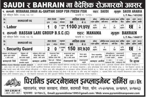 Jobs For Nepali In Bahrain, Salary -Rs.42,000/
