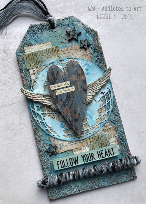 MDF Tag with Tim Holtz Globe die and Ephemera
