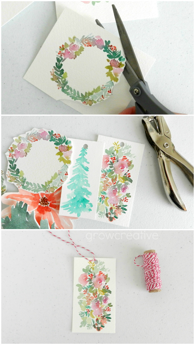How to make your own watercolor gift tags for Christmas: grow creative blog