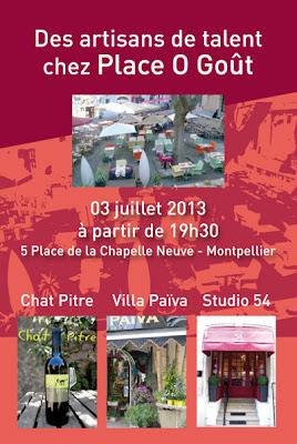 Affiche soirée de présentation d'artisans de talent chez Place O Goût, avec la participation du Studio 54, salon de coiffure à Montpellier.