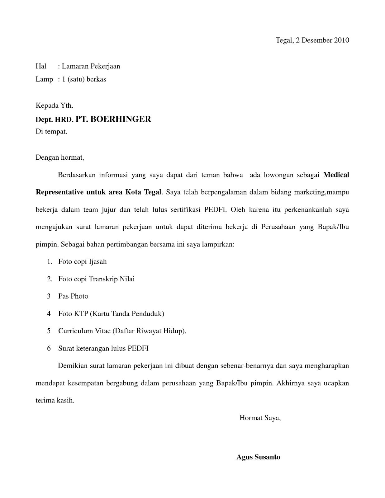 Contoh Surat Lamaran Kerja Rekomendasi Dari Teman Bagi Contoh Surat