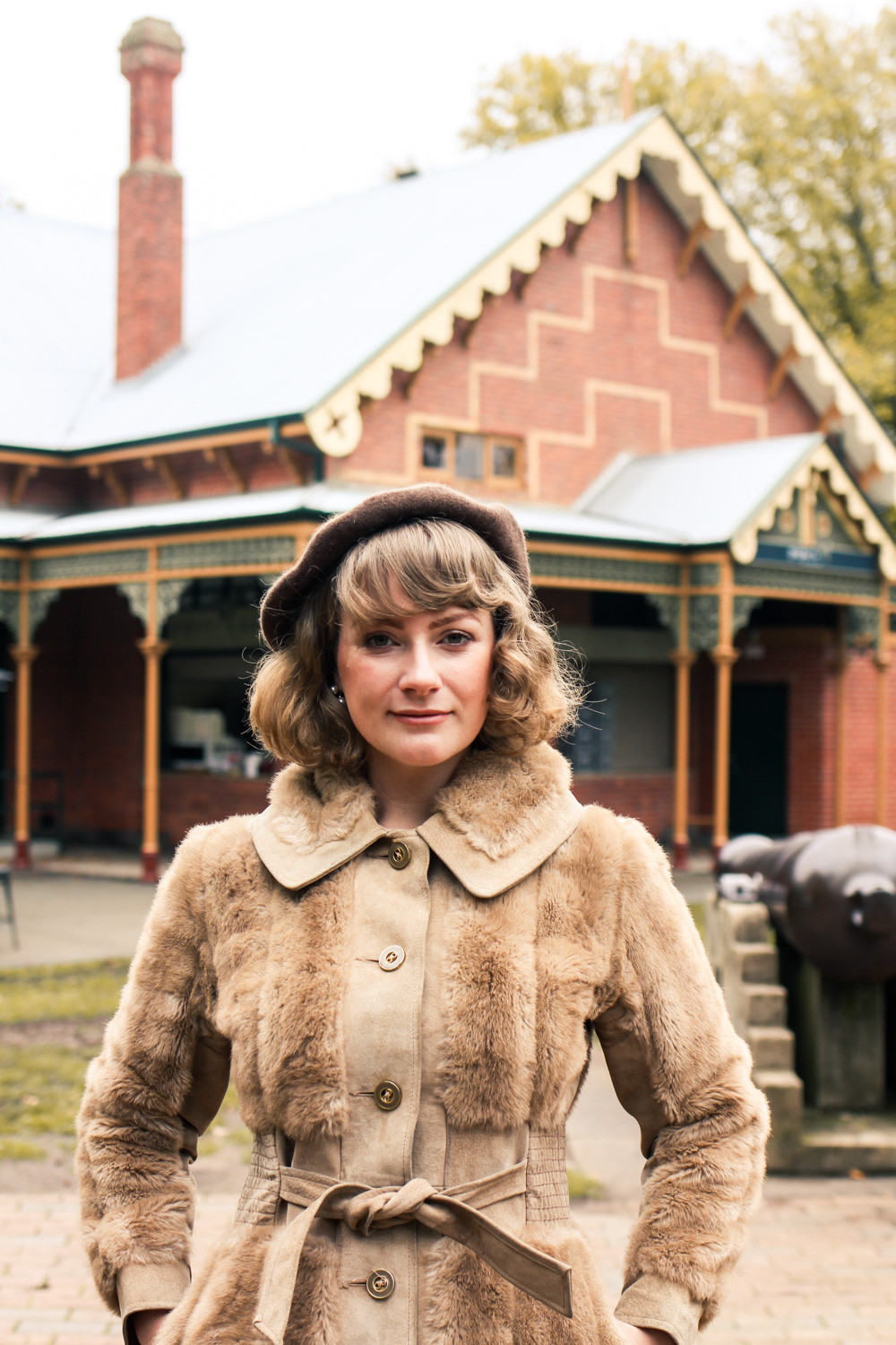 Liana of @findingfemme wearing brown vintage fur style jacket during Autumn in Ballarat
