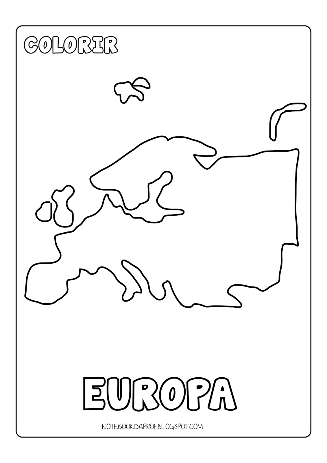 Notebook da Profª: Colorir Continentes
