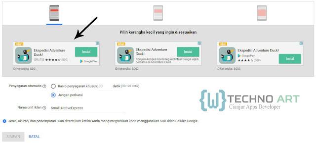 WildanTechnoArt-AdMob Memilih Kerangka Kecil Untuk Unit Iklan Netive Express
