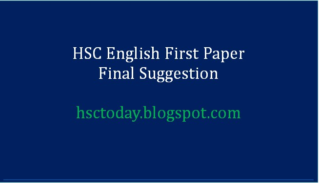 HSC English 1st Paper Suggestion 2020 Final - HSC ENGLISH TODAY