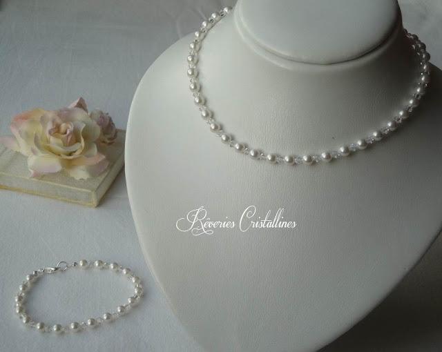 collier et bracelet mariage blanc nacré