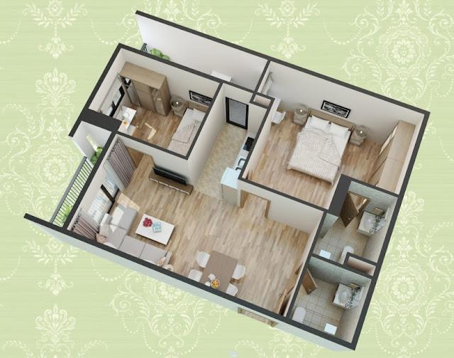 Mặt bằng thiết kế 3D căn hộ loại B1