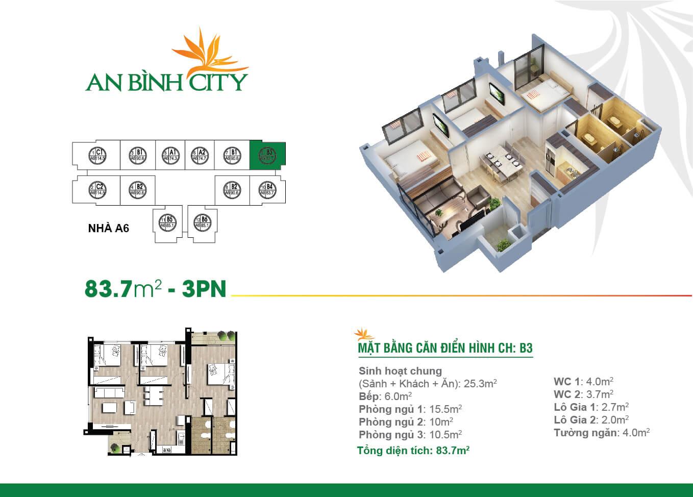 Thiết kế mặt bằng căn hộ 83,7 m2 - An Bình City