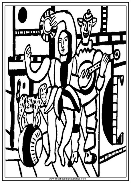 dancer the dog fernand Leger adults coloring pages printable