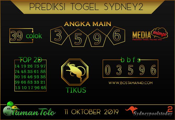 Prediksi Togel SYDNEY 2 TAMAN TOTO 11 OKTOBER 2019
