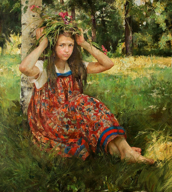 Natalya Milashevich Russian Figurative Artist Children In Painting Of Art Admirer