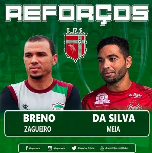 Lagarto anuncia o zagueiro Breno e o meia Da Silva para o Sergipão 2019