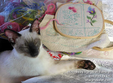Crewel Sampler (by Elsa Williams): Siamese kitten (Koji) helping